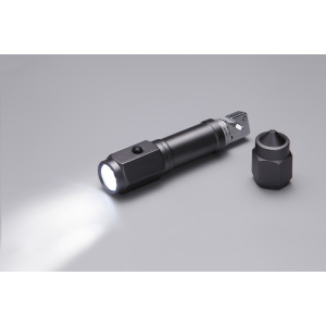 LED light with seat belt cutter and knurled