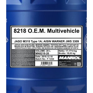Mannol 8218 O.E.M. Multivehicle JWS