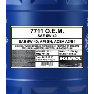 Mannol 7711 O.E.M for Daewoo GM 5W-40