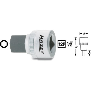 HAZET Screwdriver socket 985-8 . Square, hollow 12.5 mm (1/2 inch) . Inside hexagon profile . 8 mm