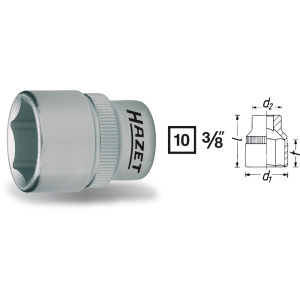 HAZET Socket (6-point) 880-13 . Square, hollow 10 mm (3/8 inch) . Outside hexagon Traction profile . 13 mm