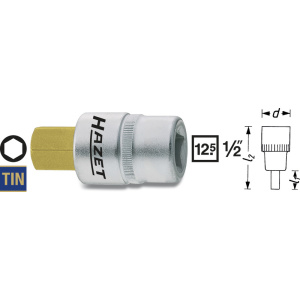 HAZET Screwdriver socket 986-12 . Square, hollow 12.5 mm (1/2 inch) . Inside hexagon profile . 12 mm
