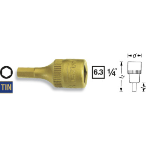 HAZET Screwdriver socket 8501-6 . Square, hollow 6.3 mm (1/4 inch) . Inside hexagon profile . 6 mm