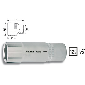 HAZET Socket (6-point) 900LG-24 . Square, hollow 12.5 mm (1/2 inch) . Outside hexagon Traction profile . 24 mm