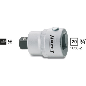 HAZET Adapter 1058-2 . Vierkant hol 20 mm (3/4 inch) . Vierkant massief 12,5 mm (1/2 inch)