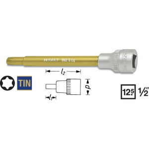 HAZET Screwdriver socket TORX® 992SLG-T45 . Square, hollow 12.5 mm (1/2 inch) . Inside TORX® profile .  T 45 mm