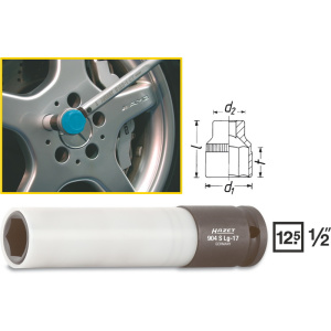 HAZET Impact socket (6-point), extra long 904SLG-17 . Square, hollow 12.5 mm (1/2 inch) . Outside hexagon Traction profile . 17 mm