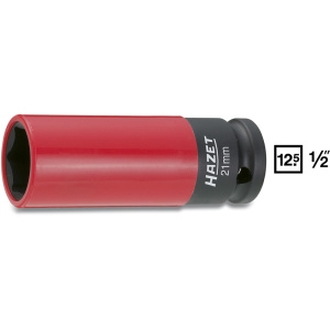 HAZET Impact socket (6-point) 903SLG-21 . Square, hollow 12.5 mm (1/2 inch) . Outside hexagon Traction profile . 21 mm