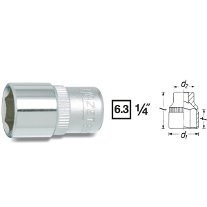 HAZET Socket (6-point) 850-6 . Square, hollow 6.3 mm (1/4 inch) . Outside hexagon Traction profile . 6 mm