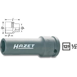 HAZET Impact socket (6-point) 901SLG-17 . Square, hollow 12.5 mm (1/2 inch) . Outside hexagon Traction profile . 17 mm