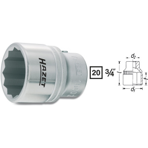 HAZET Socket (12-point) 1000Z-24 . Square, hollow 20 mm (3/4 inch) . Outside 12-point profile . 24 mm