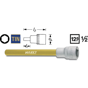 HAZET Screwdriver socket 986LG-10 . Square, hollow 12.5 mm (1/2 inch) . Inside hexagon profile . 10 mm