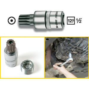 HAZET Oil service screwdriver socket 2567-16 . Square, hollow 12.5 mm (1/2 inch) . Internal serration profile XZN with pin . M16 mm