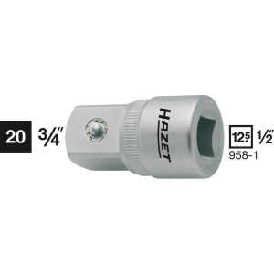HAZET Adapter 958-1 . Vierkant hol 12,5 mm (1/2 inch) . Vierkant massief 20 mm (3/4 inch)