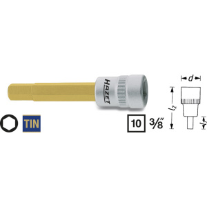 HAZET Screwdriver socket 8801-4 . Square, hollow 10 mm (3/8 inch) . Inside hexagon profile . 4 mm