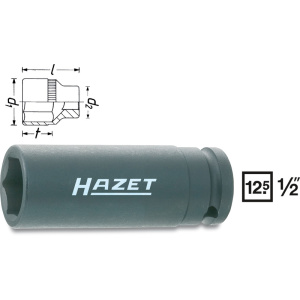 HAZET Impact socket (6-point) 900SLG-19 . Square, hollow 12.5 mm (1/2 inch) . Outside hexagon Traction profile . 19 mm