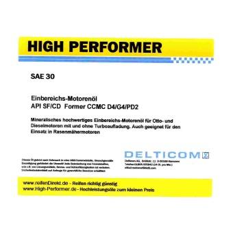 High Performer HD SAE 30W Einbereichsöl 5 Liter...