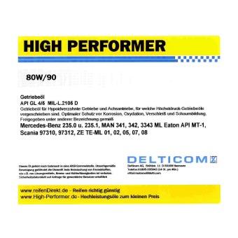 High Performer 80W 90 GL4 5 Versnellingsbakolie 5 liter kan