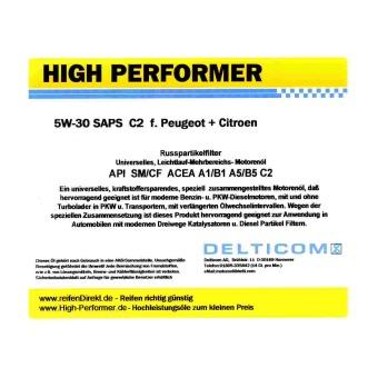 High Performer 5W 30 SAPS C2 Peugeot Citroen 208 liter vat