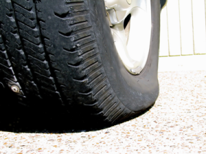 Tyre damage: rusty nail in tyre