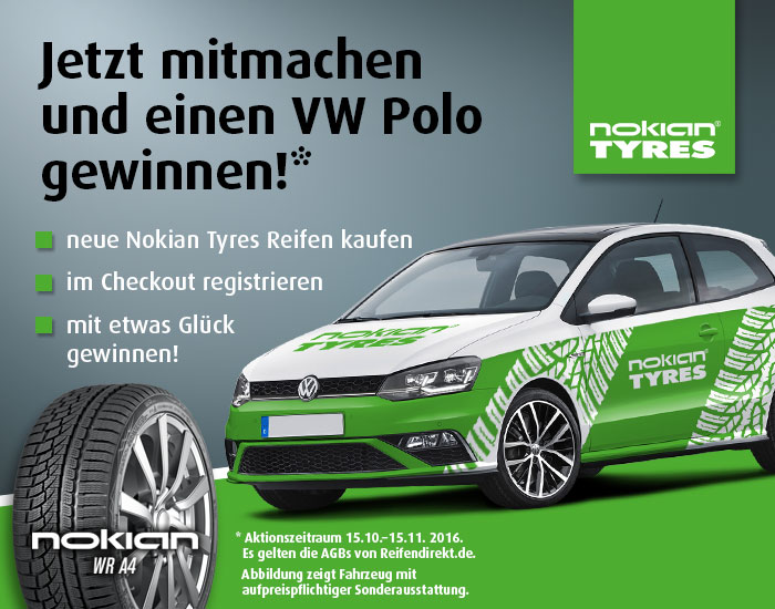 nokian vw polo gewinnspiel auf reifen. Black Bedroom Furniture Sets. Home Design Ideas
