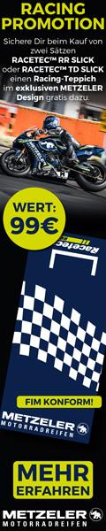 Kaufe jetzt einen Satz Metzeler Racetec RD Slick oder Racetec RR Slick und erhalte einen Racing-Teppich gratis dazu!